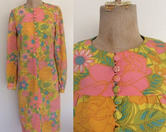 1970's Button Up Floral Shift Dress Yellow Pink Pastel Vintage Dress Size Small Medium by Maeberry Vintage