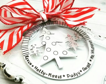 Personalized family Christmas ornament - Christmas tree ornament  - Hand Stamped tree ornament