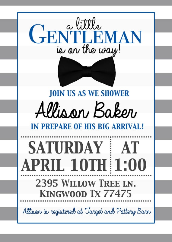 Beautiful Little Gentleman Baby Shower Invitation With Bow Tie Its A