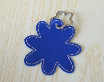 Leather keychain, leather keyring,flower keychain,shapes keyring,flowers keychain,blue flower keyring,blue keychain, flower shape
