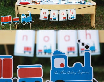 Train Birthday PRINTABLE Party Collection - You Customize EDITABLE TEXT Instant Download | Paper and Cake