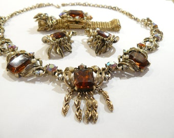 Beautiful Vintage Topaz Glass & AB Rhinestone Victorian Revival Necklace, Bracelet and Earrings