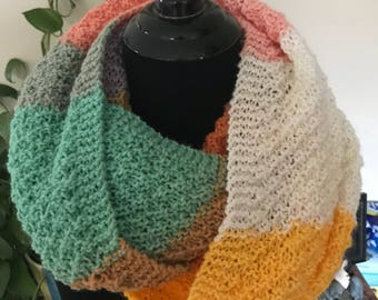 Hand Knit Infinity Scarf - Muted Earth Pastels