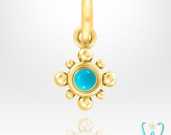 14K Tiny Turquoise Beaded Pendant or Necklace