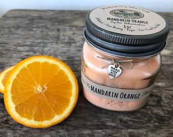 Mandarin Orange 8oz Soy Wax Candle All Natural Handmade Eco Friendly Vegan