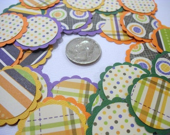 12 Halloween Round Scalloped Posies for Scrapbooking Cardmaking Party Decoration