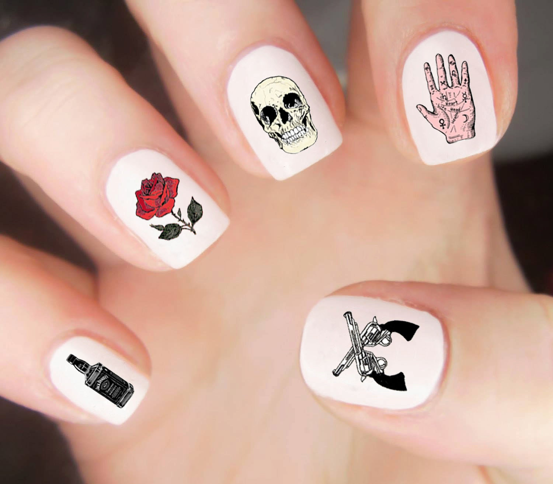 Western Nail Decals / Skull Nail Decals / Rose Nail Decals / Biker ...