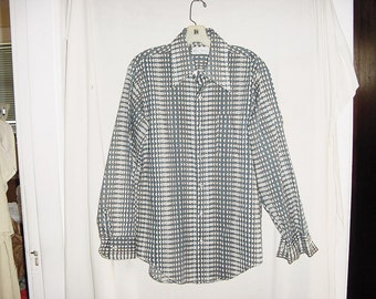 Vintage 70s Mens Diamond Geometric Fly Collar Disco Shirt M Blue Beige