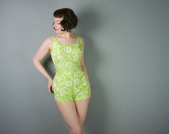60s playsuit by COLE of California - LIME green with vivid floral print - poolside Mid Century ROMPER - S