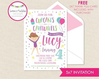 Gymnastics Birthday Invitation, Gymnastics Invitation, Gymnastics Printables, Gymnastics Birthday Decorations, Lauren Haddox Designs