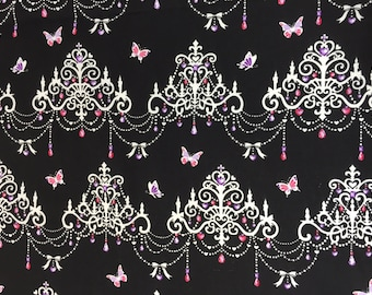 """Butterfly Chandelier BLACK 100% Cotton ~ 42"""" Wide ~ Sold by the Yard"""