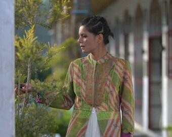 Medium ~ Laina, Handmade One of a Kind Kantha Jacket in Henna Green floral Print