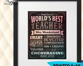 Teacher Gift   World's Best Teacher   Teacher Appreciation Gift   End of School Year   Teacher's gift   Gift for teacher   Custom Print