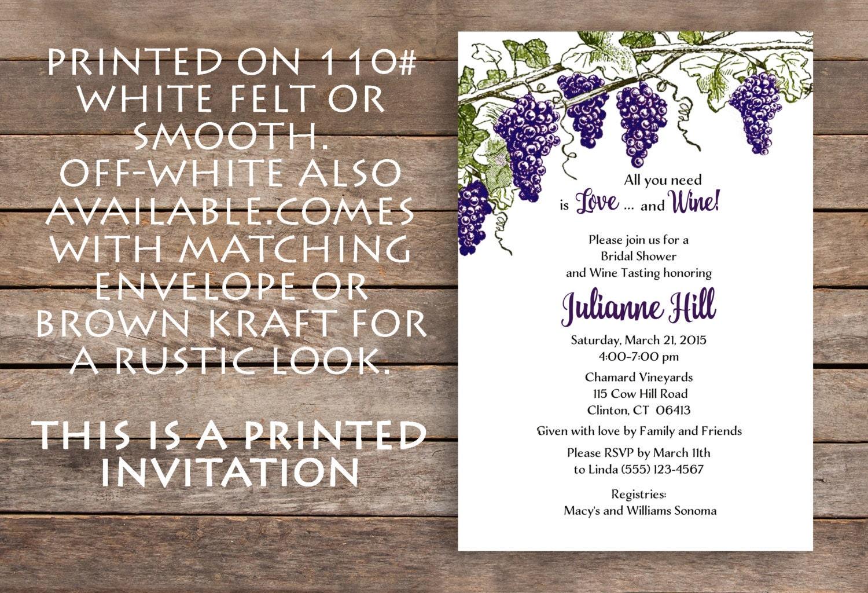 Wine Theme Bridal Shower Vineyard Bridal Shower Invitation