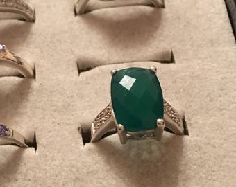 solid silver with green crystal ring