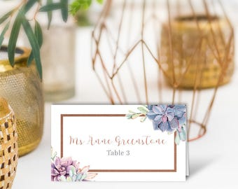 Succulent Wedding Place Cards / Greenery and Rose Gold Geometric / Cactus and Copper / PRINTED Name Card, Tent Card, Food Label