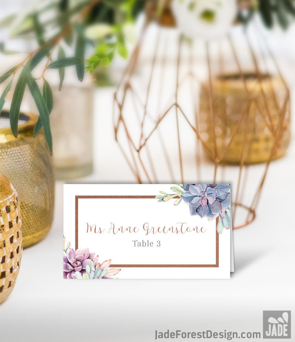 Succulent Wedding Place Cards / Greenery and Rose Gold Geometric ...