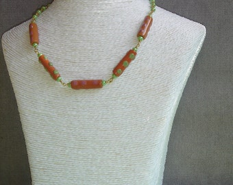 Necklace beads long satin
