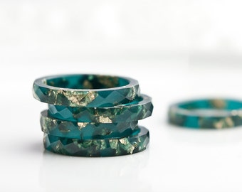 Teal Resin Stacking Ring Gold Flakes Thin Faceted Ring OOAK boho minimalist jewelry deep teal emerald