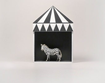 Kids room decor, circus shelf, plywood childrens furniture, childrens gift idea, black, white, minimal retro style