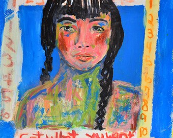 Blue Girl Braids Portrait Painting Print. Digital Prints. Home Wall Print.