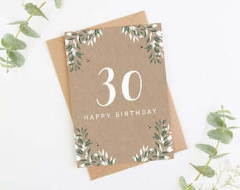 30th Birthday Card Botanical Kraft