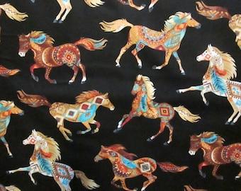 Navajo Horse Totem Teal Cotton Fabric Fat Quarter Or Custom Listing