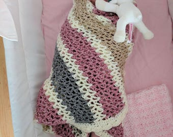 Crocheted Striped Pastel Baby Blanket