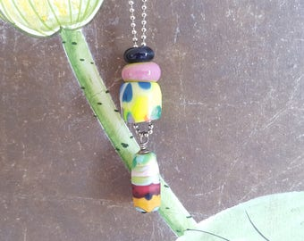 Handmade bead necklace, original lampwork glass and fimo clay beads, bright colors, long necklace with bead pendant, neon necklace, spring.