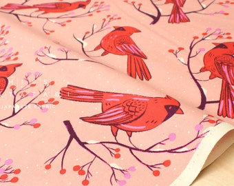 Cotton + Steel Frost - winter cardinals - pink - 50cm