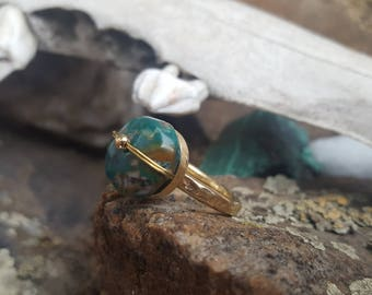 Round Green Turquoise Brass Ring