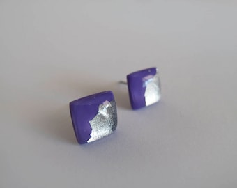 Purple & Silver Square Stud Earrings - Gift for Her - Hypoallergenic Titanium Posts