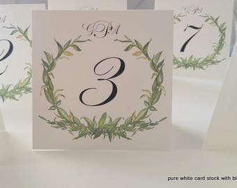 Wedding Table Number Tented Laurel Wreath Design, Personalized Table Number with Bride and Groom Monogram
