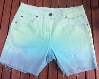 Green to blue ombré shorts size 10