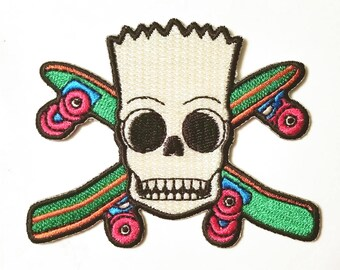 "Bart Skull Patch **FREE SHIPPING** 3"" Iron On Embroidered Patch"