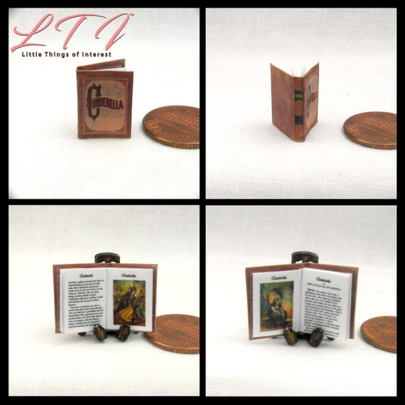 CINDERELLA Miniature Book Dollhouse 1:12 Scale Color Illustrated Readable Book Fairy Godmother Glass Slipper Handsome Prince Stepmother