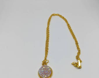 Gold plated pink druzy necklace