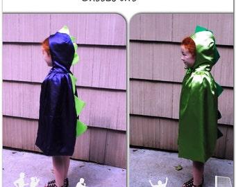 Choose Two Dinosaur Child Capes Purple or Green Satin Dragon Toddler Kids Children Photographer Prop Halloween Make Believe