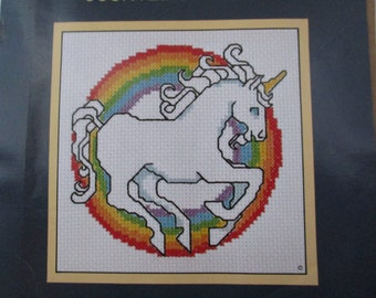 Counted Cross Stitch Unicorn Kit, Vintage Unicorn Kit, Cross Stitch Sunset Rainbow Unicorn Kit, Rainbow Unicorn Kit, Vintage Stitchery Kit