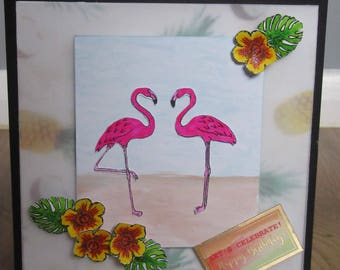 Handmade Tropical Flamingo Card