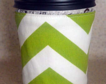 Reusable Coffee Sleeve Stocking Stuffer Coffee Cozy Coffee Cup Cozy, Chartreuse Green and White Chevron