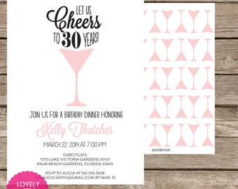 Printable Cheers Birthday Invitation - Lovely Little Party