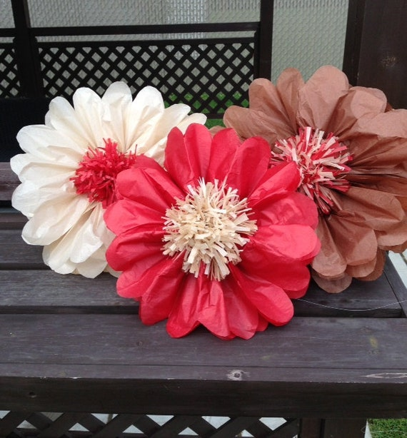 Set of 3 giants tissue paper flowers pom poms 2 in 1 like this item mightylinksfo Choice Image