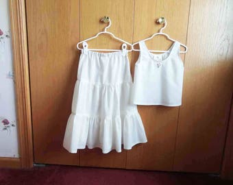 Full Length Petticoat and Camisole Set, Girls Long Slip, Long Half Slip and Camisole, Size 2, 3, 4, 5, 6, 7, 8