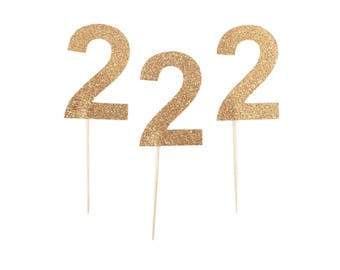 Gold Age Cupcake Toppers - Gold 2 Cupcake Topper - Gold Two Cupcake Topper - Gold Second Birthday Cupcake Topper