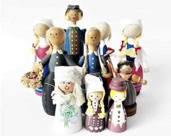 Set of 10 handmade Swedish Vintage wooden doll // T. Klintas Susi-Lull Torsten Klintås Hand painted // Scandinavian art // Made in Sweden