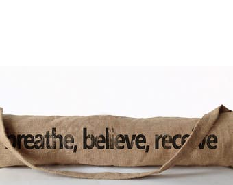 Breathe Believe Receive Yoga Tote Bag, Yoga bag, Burlap Bag Tote Bag, Yoga Products, Yoga Accessories, Gift For Her Mom Gift For Granny Nana