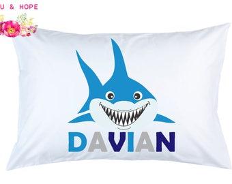 Shark Pillowcase, Shark Personalized Pillowcase, Shark Travel Pillow, Shark Pillow Cover, Baby Shower, 1st Birthday Gift, Toddler Pillow