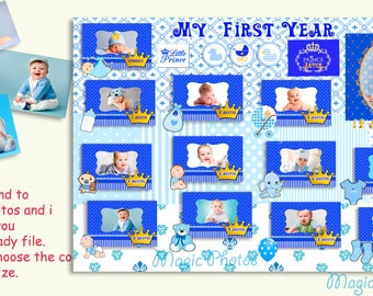 My First Year Baby Photo Collage Baby Boy Collage Gift For New Born Baby Boy Birth announcement Baby Boy Printable photo  little Prince