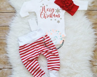 merry christmas baby girl outfit christmas bodysuit baby christmas set baby girl clothes newborn christmas outfit candy cane outfit